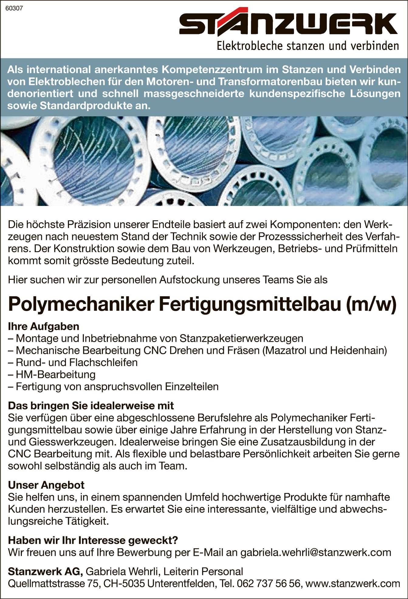 polymechaniker fertigungsmittelbau unterentfelden - Hm Bewerben